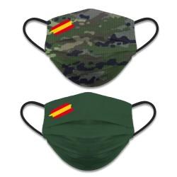 Mascarilla Reversible Camuflaje-Verde