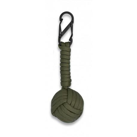 Mosquetón doble con bola de cuerda verde