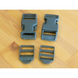 Pack 2 Hebillas ITW 25mm + Fijadores Verde Oliva