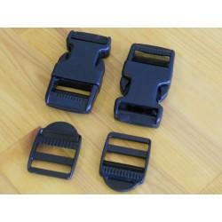 Pack 2 Hebillas ITW 25mm + Fijadores Negros