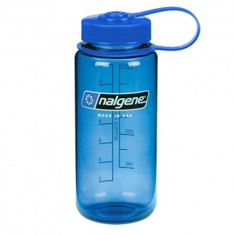 Botella Nalgene Boca Ancha 0,5 Litros Azul / Tapón Azul