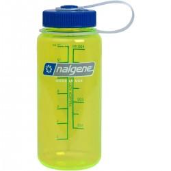 Botella Nalgene Boca Ancha 0,5L Lima Transparente Tapón Azul
