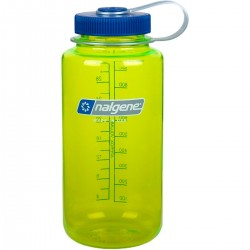 Botella Nalgene Boca Ancha 1 L Lima Transparente Tapón Azul