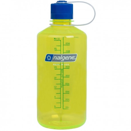 Botella Nalgene Boca Estrecha 1L Lima Transparente Tapón Azul