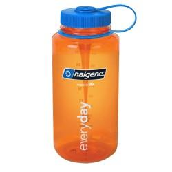Botella Nalgene Boca Ancha 1L Naranja Tapón Azul