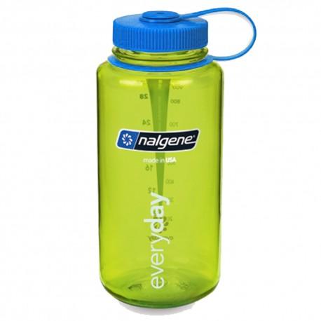 Botella Nalgene Boca Ancha 1L Verde Tapón Azul