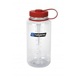 Botella Nalgene Boca Ancha 1 Litro Transparente Tapón Rojo