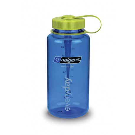 Botella Nalgene Boca Ancha 1 Litro Azul Tapón Lima
