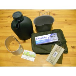 Pack Hidratación Mil-Tec + Cocina + Pastillas Potabilizadoras Verde