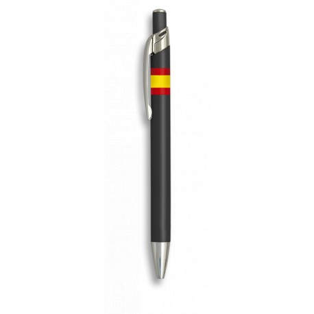 Bolígrafo aluminio color negro Bandera España